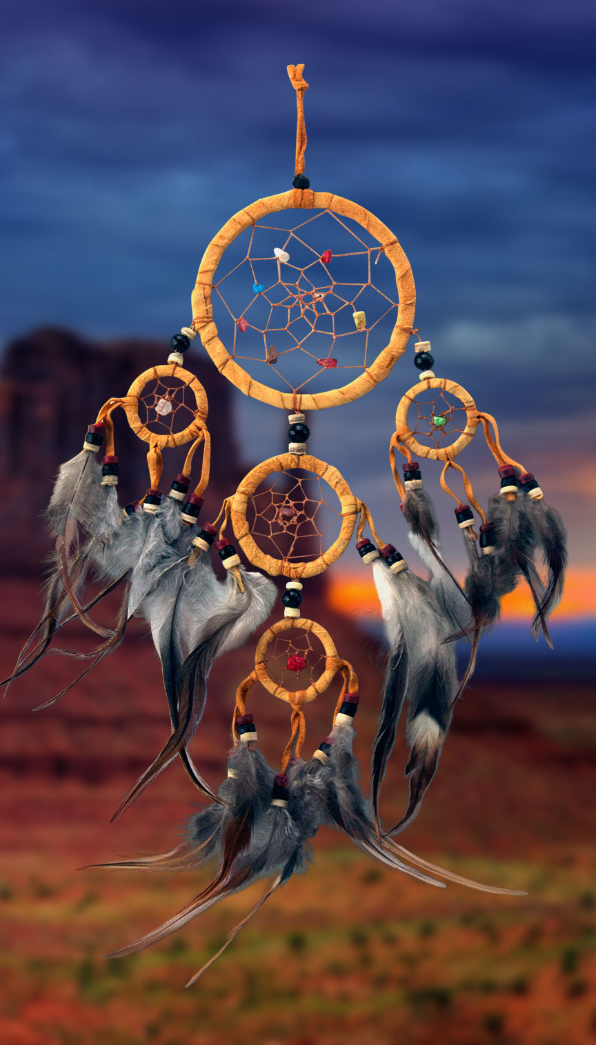 Shows an image of dreamcatcher owg010 on a scenic background